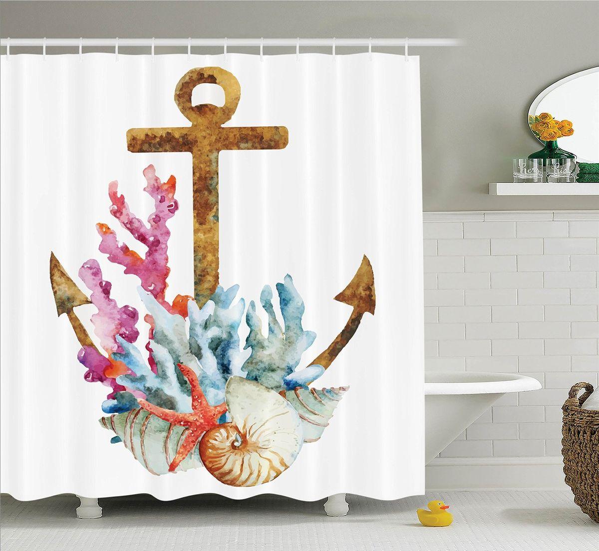 Штора для ванной комнаты Magic Lady Якорь, кораллы и ракушки, 180 х 200 смшв_11058Штора Magic Lady Якорь, кораллы и ракушки, изготовленная из высококачественного сатена (полиэстер 100%), отлично дополнит любой интерьер ванной комнаты. При изготовлении используются специальные гипоаллергенные чернила для прямой печати по ткани, безопасные для человека.В комплекте: 1 штора, 12 крючков. Обращаем ваше внимание, фактический цвет изделия может незначительно отличаться от представленного на фото.