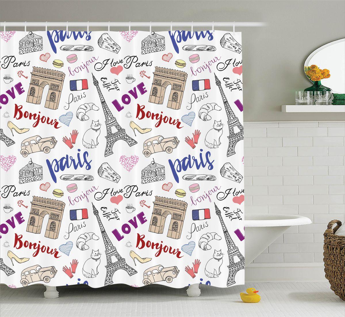 Штора для ванной комнаты Magic Lady Bonjour, Paris!, 180 х 200 смшв_11344Штора Magic Lady Bonjour, Paris!, изготовленная из высококачественного сатена (полиэстер 100%), отлично дополнит любой интерьер ванной комнаты. При изготовлении используются специальные гипоаллергенные чернила для прямой печати по ткани, безопасные для человека.В комплекте: 1 штора, 12 крючков. Обращаем ваше внимание, фактический цвет изделия может незначительно отличаться от представленного на фото.