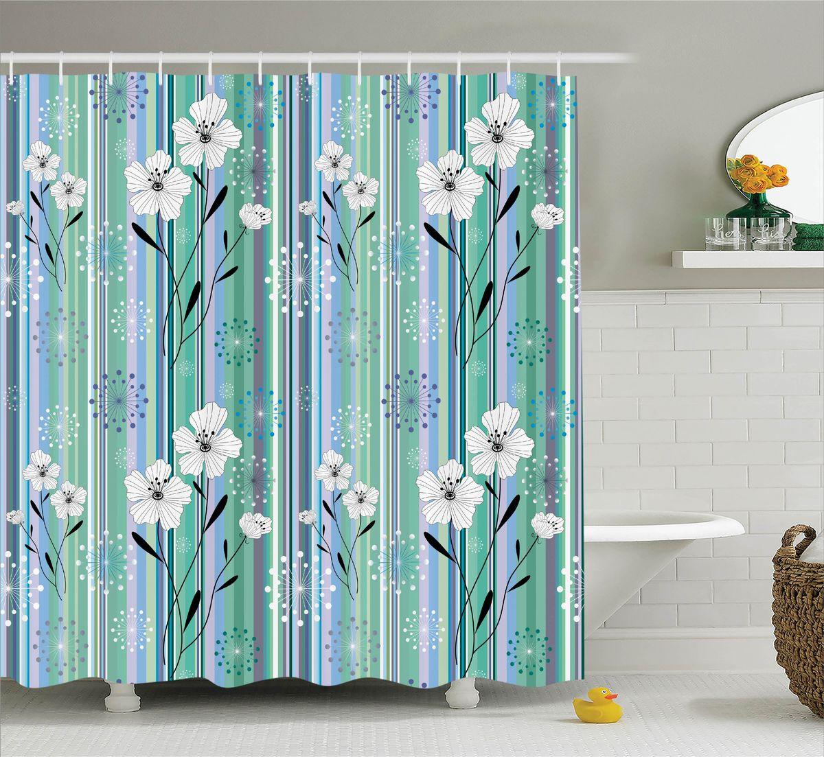 Штора для ванной комнаты Magic Lady Цветы и полоски, 180 х 200 смшв_11388Штора Magic Lady Цветы и полоски, изготовленная из высококачественного сатена (полиэстер 100%), отлично дополнит любой интерьер ванной комнаты. При изготовлении используются специальные гипоаллергенные чернила для прямой печати по ткани, безопасные для человека.В комплекте: 1 штора, 12 крючков. Обращаем ваше внимание, фактический цвет изделия может незначительно отличаться от представленного на фото.