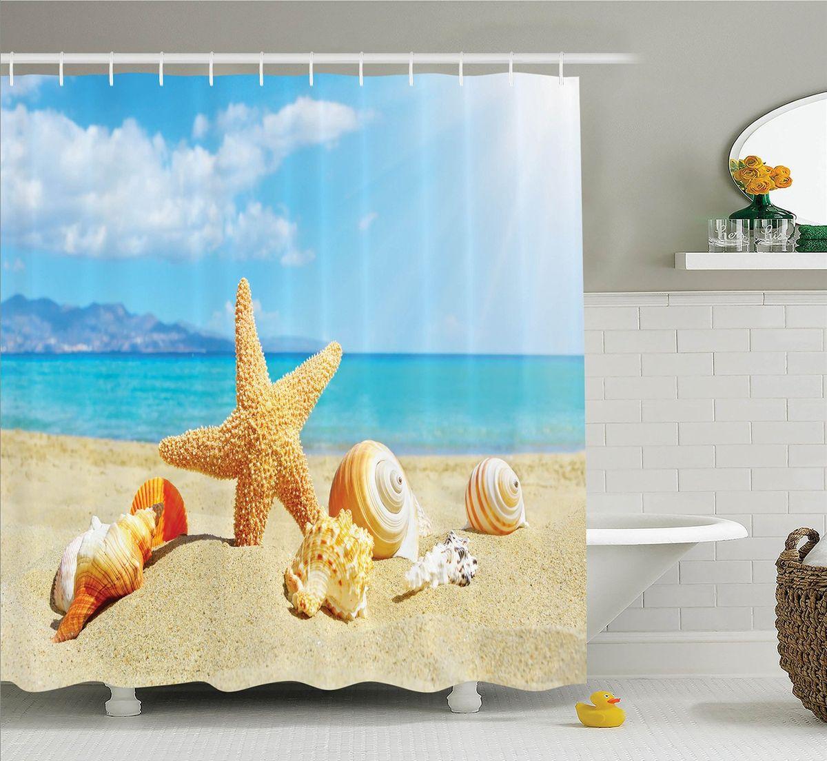 Штора для ванной комнаты Magic Lady Ракушки на пляже, 180 х 200 см фотоштора для ванной утка принимает душ magic lady 180 х 200 см