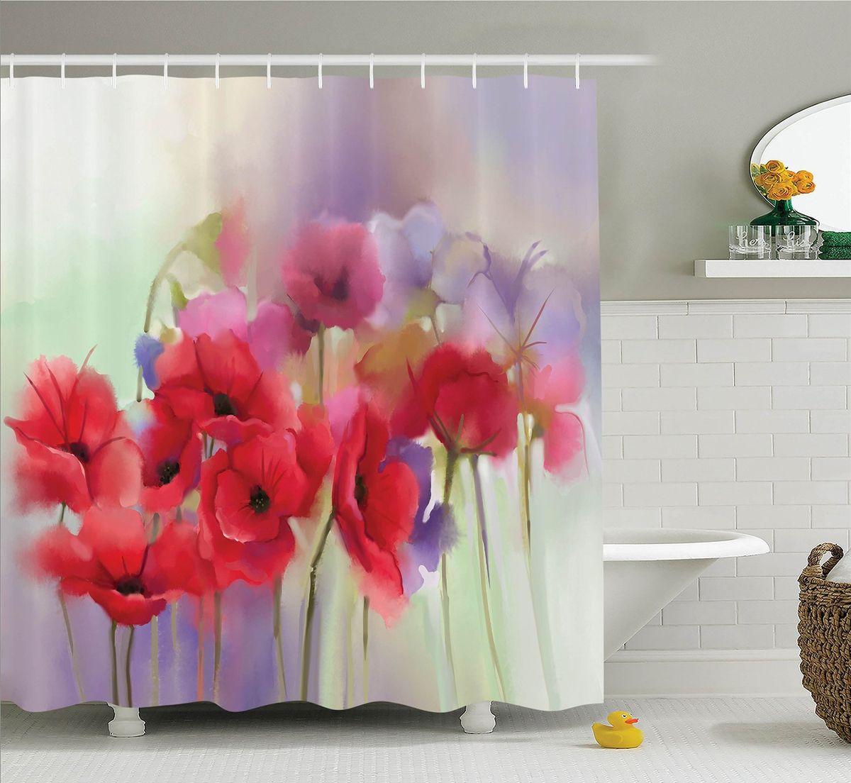 """Штора Magic Lady """"Алые цветы на лиловом фоне"""", изготовленная из высококачественного сатена (полиэстер 100%), отлично дополнит любой интерьер ванной комнаты. При изготовлении используются специальные гипоаллергенные чернила для прямой печати по ткани, безопасные для человека.   В комплекте: 1 штора, 12 крючков. Обращаем ваше внимание, фактический цвет изделия может незначительно отличаться от представленного на фото."""