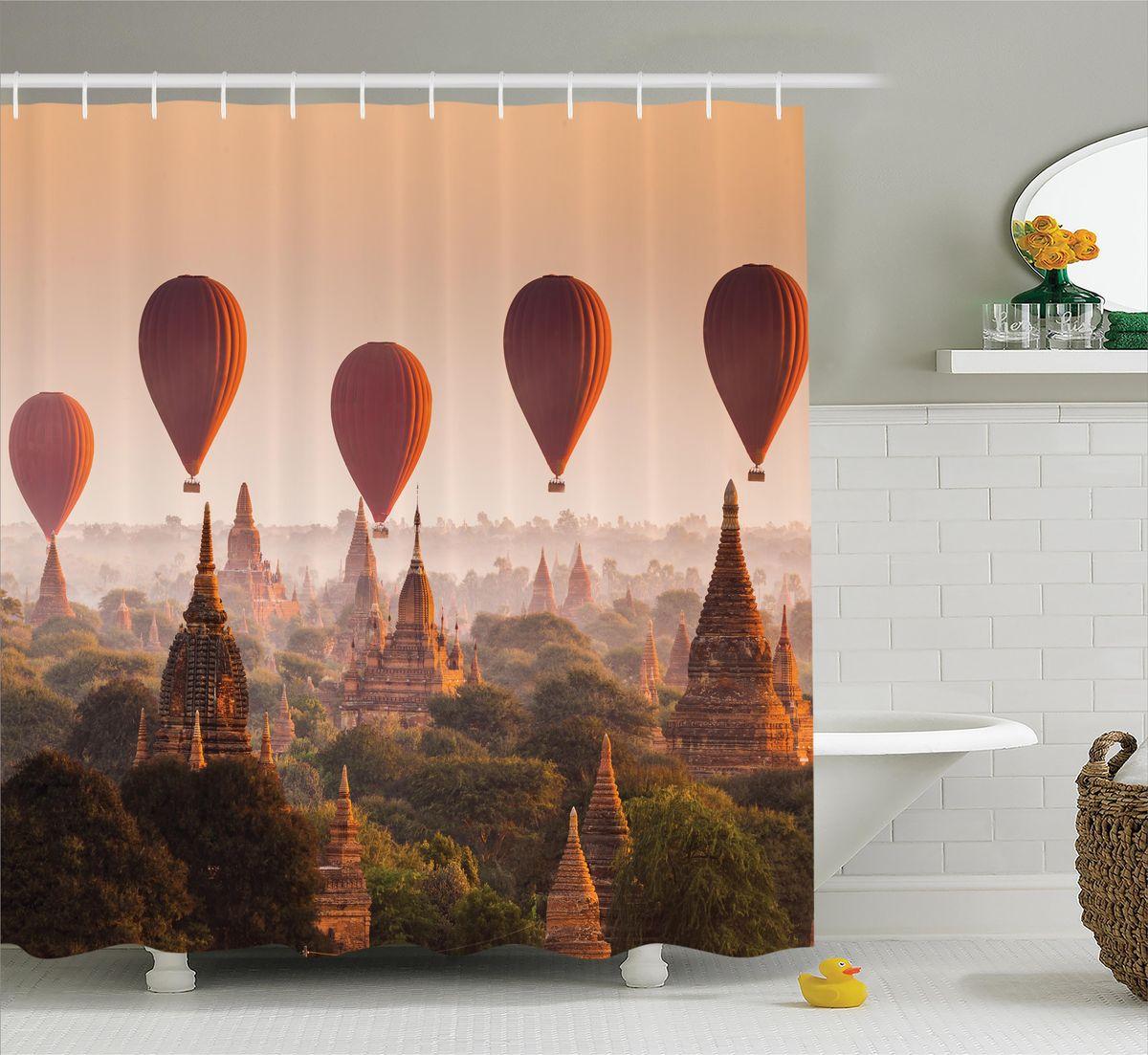 Штора для ванной комнаты Magic Lady Воздушные шары над древним городом, 180 х 200 см фотоштора для ванной утка принимает душ magic lady 180 х 200 см