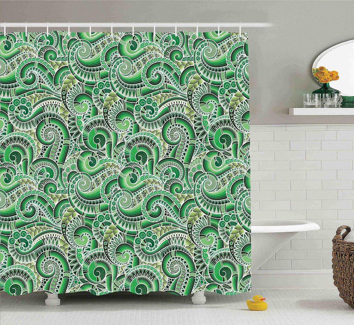 """Штора Magic Lady """"Зеленые узоры"""", изготовленная из высококачественного сатена (полиэстер 100%), отлично дополнит любой интерьер ванной комнаты. При изготовлении используются специальные гипоаллергенные чернила для прямой печати по ткани, безопасные для человека.    В комплекте: 1 штора, 12 крючков. Обращаем ваше внимание, фактический цвет изделия может незначительно отличаться от представленного на фото."""