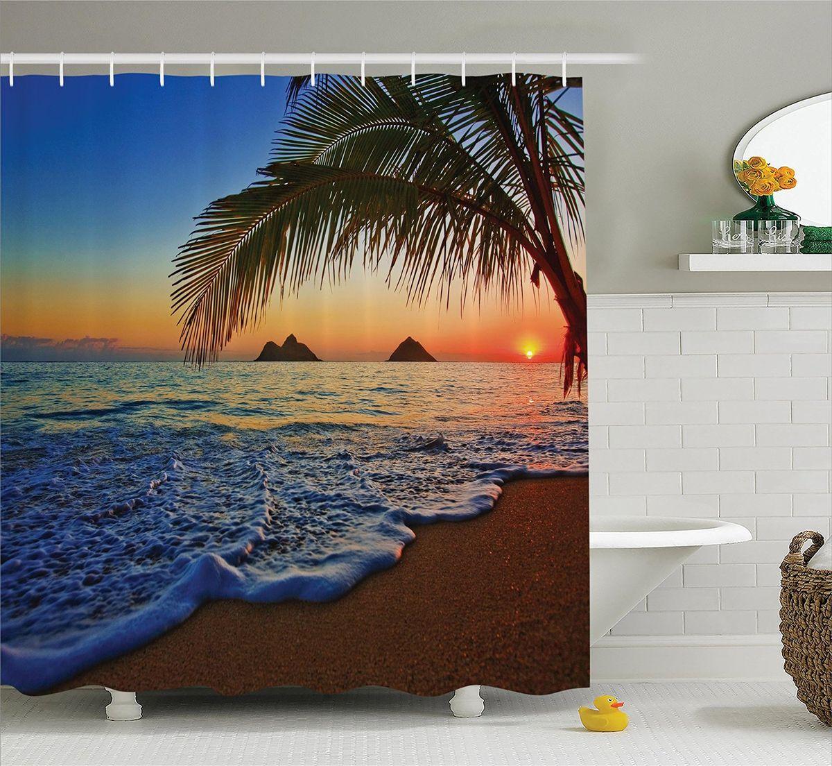 Штора для ванной комнаты Magic Lady Закат под пальмой, 180 х 200 смшв_12298Штора Magic Lady Закат под пальмой, изготовленная из высококачественного сатена (полиэстер 100%), отлично дополнит любой интерьер ванной комнаты. При изготовлении используются специальные гипоаллергенные чернила для прямой печати по ткани, безопасные для человека.В комплекте: 1 штора, 12 крючков. Обращаем ваше внимание, фактический цвет изделия может незначительно отличаться от представленного на фото.
