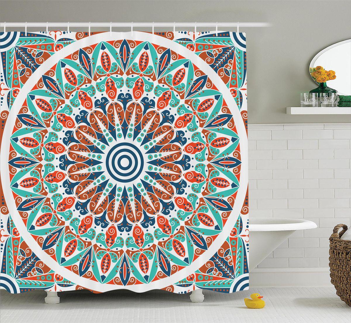 Штора для ванной комнаты Magic Lady Индийский орнамент, 180 х 200 см фотоштора для ванной утка принимает душ magic lady 180 х 200 см