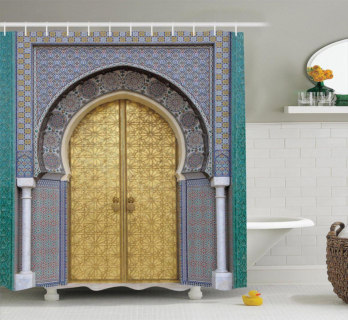 """Штора Magic Lady """"Дверь с арабскими узорами"""", изготовленная из высококачественного сатена (полиэстер 100%), отлично дополнит любой интерьер ванной комнаты. При изготовлении используются специальные гипоаллергенные чернила для прямой печати по ткани, безопасные для человека.    В комплекте: 1 штора, 12 крючков. Обращаем ваше внимание, фактический цвет изделия может незначительно отличаться от представленного на фото."""