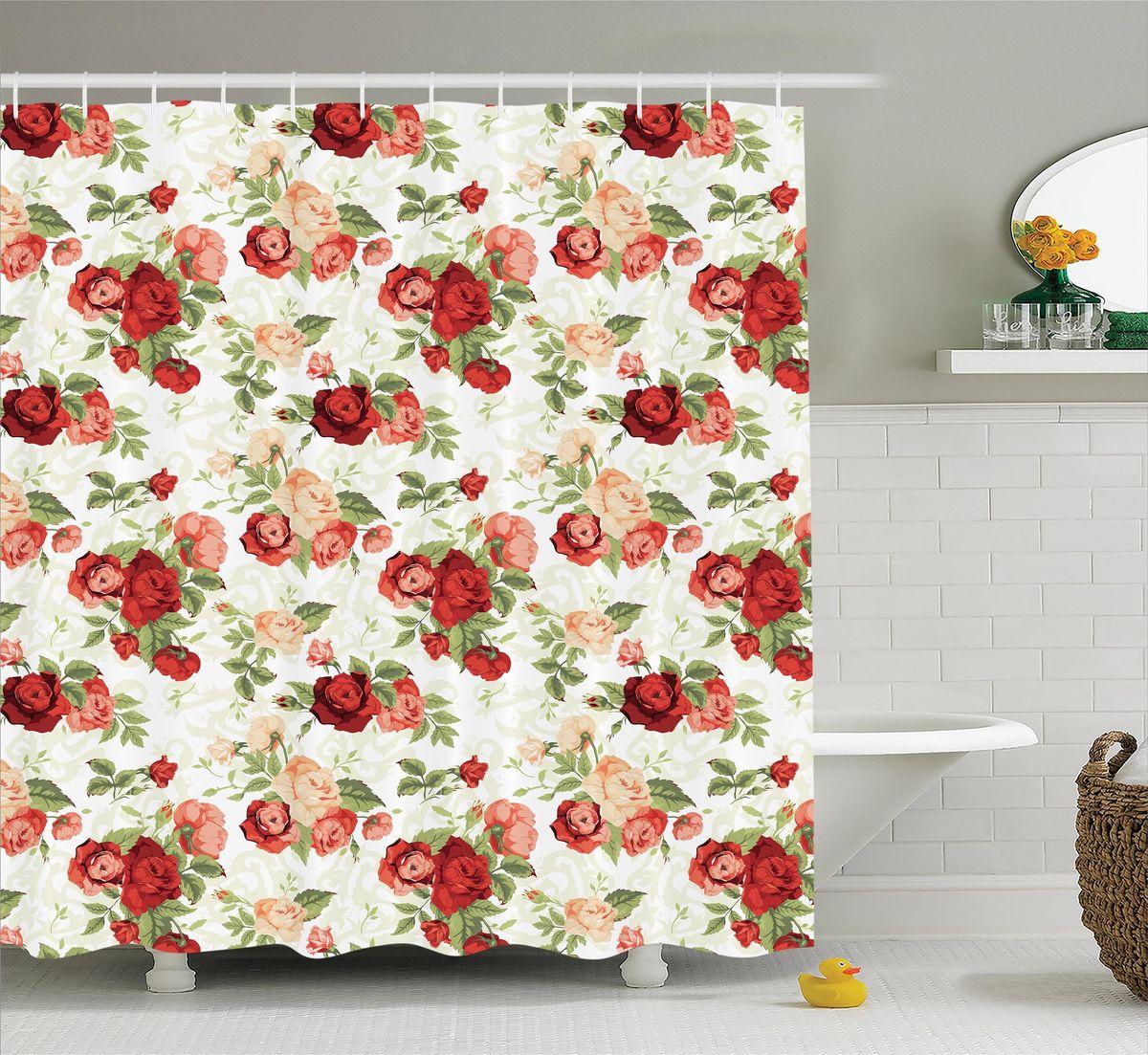 Штора для ванной комнаты Magic Lady Розы в стиле ретро, 180 х 200 см штора для ванной комнаты magic lady дерево в волшебном лесу цвет коричневый оранжевый 180 х 200 см