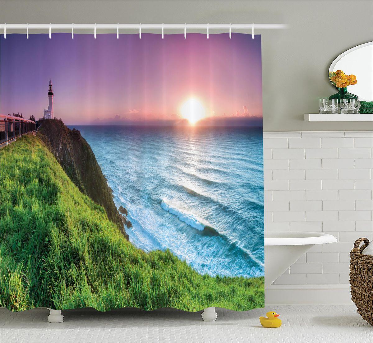 Штора для ванной комнаты Magic Lady Зеленый берег на закате, 180 х 200 см штора для ванной комнаты magic lady абрикос на закате весна 180 х 200 см