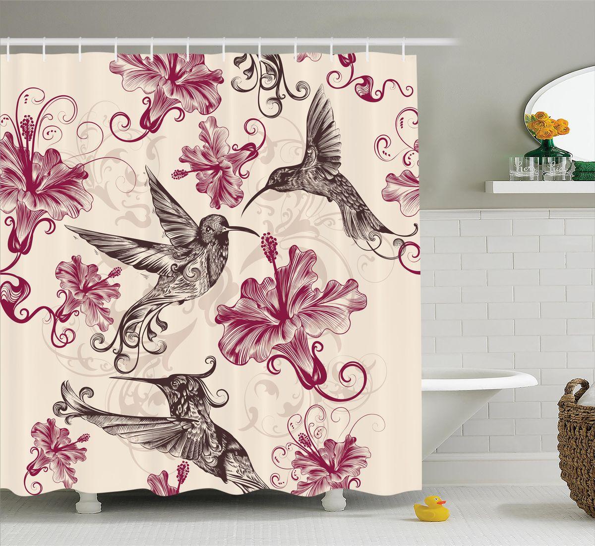Штора для ванной комнаты Magic Lady Колибри в цветах гибискуса, цвет: белый, сиреневый, 180 х 200 см цена