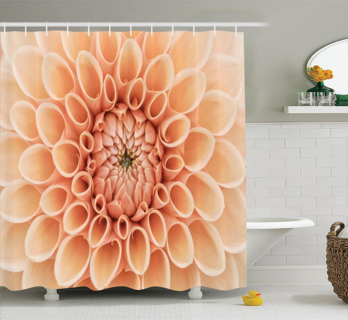 Штора для ванной комнаты Magic Lady  Оранжевая хризантема , 180 х 200 см - Шторки, кольца и карнизы для ванной