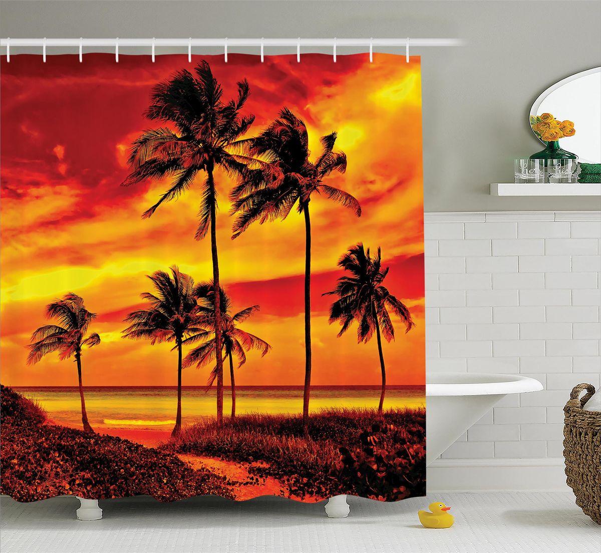 Штора для ванной комнаты Magic Lady Алый закат на пляже, 180 х 200 смшв_12484Штора Magic Lady Алый закат на пляже, изготовленная из высококачественного сатена (полиэстер 100%), отлично дополнит любой интерьер ванной комнаты. При изготовлении используются специальные гипоаллергенные чернила для прямой печати по ткани, безопасные для человека. В комплекте: 1 штора, 12 крючков. Обращаем ваше внимание, фактический цвет изделия может незначительно отличаться от представленного на фото.