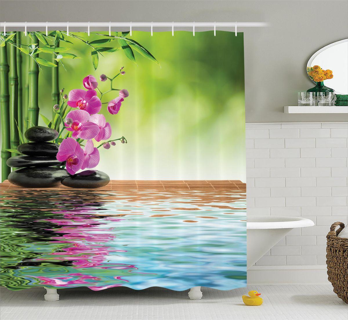 """Штора Magic Lady """"Орхидеи у воды"""", изготовленная из высококачественного сатена (полиэстер 100%), отлично дополнит любой интерьер ванной комнаты. При изготовлении используются специальные гипоаллергенные чернила для прямой печати по ткани, безопасные для человека.    В комплекте: 1 штора, 12 крючков. Обращаем ваше внимание, фактический цвет изделия может незначительно отличаться от представленного на фото."""