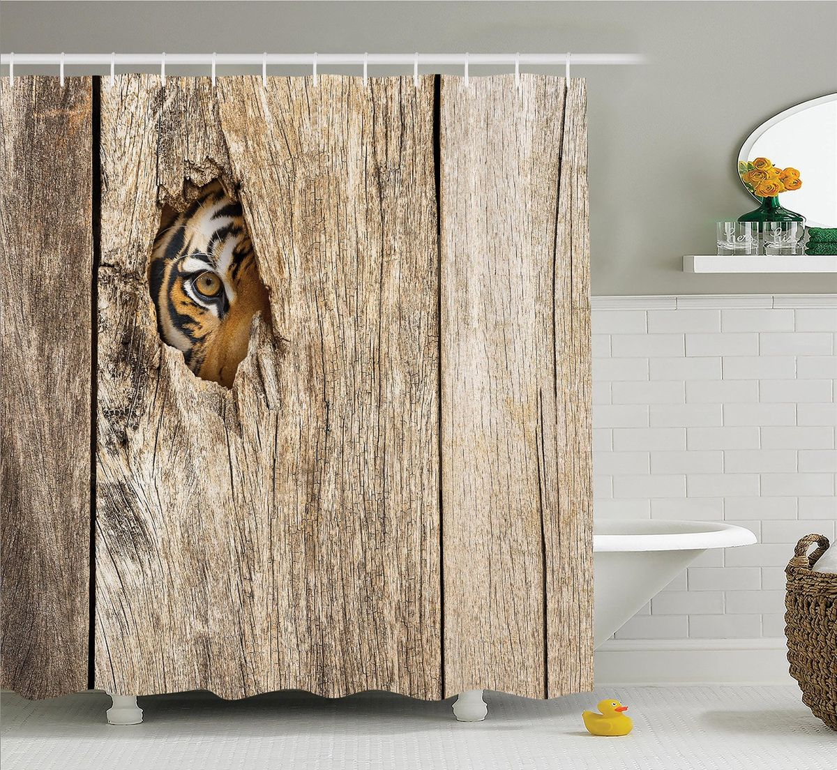 Штора для ванной комнаты Magic Lady Любопытный тигр, 180 х 200 смшв_12725Штора для ванной комнаты Magic Lady выполнены из высококачественного сатена (полиэстер 100%). При изготовлении используются специальные гипоаллергенные чернила для прямой печати по ткани, безопасные для человека и животных. Экологичность продукции и безопасность для окружающей среды подтверждены сертификатом Oeko-Tex Standard 100. Крепление: крючки (12 шт). Внимание! При нанесении сублимационной печати на ткань технологическим методом при температуре 240 С, возможно отклонение полученных размеров, указанных на этикетке и сайте, от стандартных на + - 3-5 см). Размер шторы: 180 х 200 см. В комплекте 1 штора и 12 крючков.