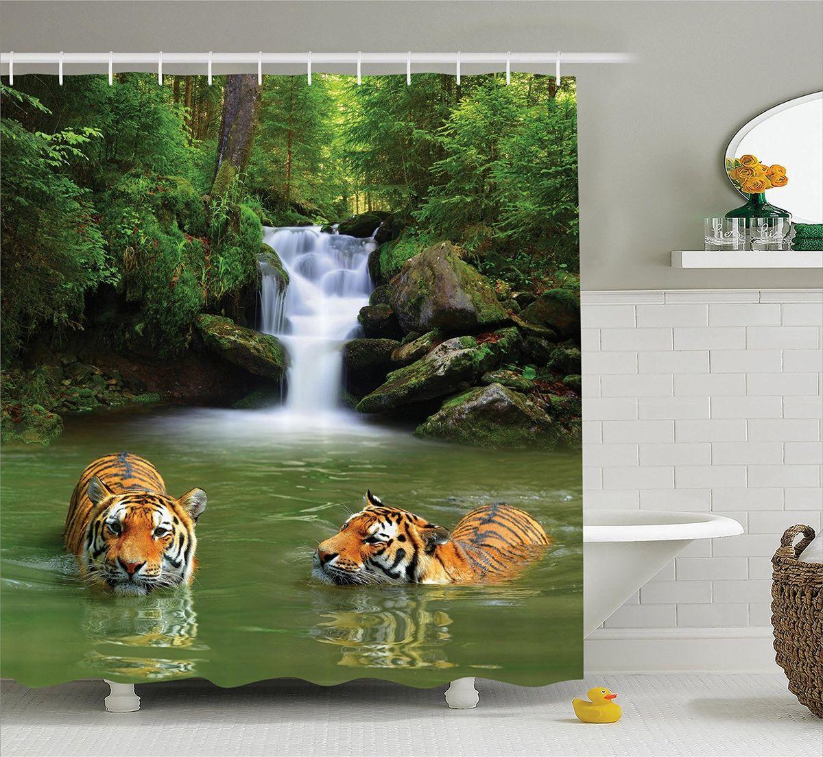 """Штора Magic Lady """"""""Купающиеся тигры"""", изготовленная из высококачественного сатена (полиэстер 100%), отлично дополнит любой интерьер ванной комнаты. При изготовлении используются специальные гипоаллергенные чернила для прямой печати по ткани, безопасные для человека.     В комплекте: 1 штора, 12 крючков.    Обращаем ваше внимание, фактический цвет изделия может незначительно отличаться от представленного на фото."""