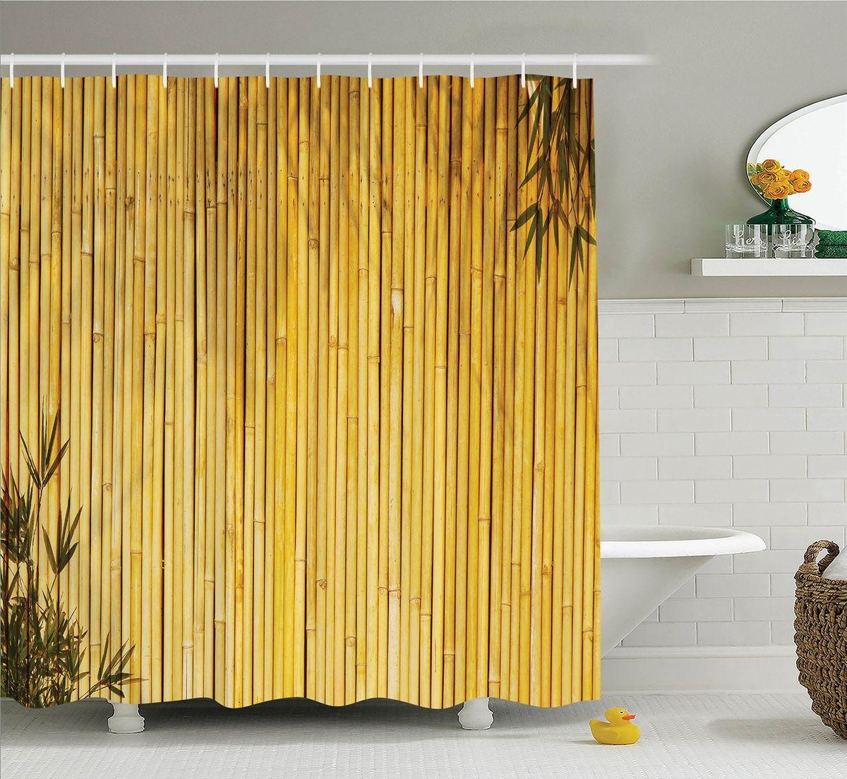 """Штора Magic Lady """"Стена бамбука"""", изготовленная из высококачественного сатена (полиэстер 100%), отлично дополнит любой интерьер ванной комнаты. При изготовлении используются специальные гипоаллергенные чернила для прямой печати по ткани, безопасные для человека.    В комплекте: 1 штора, 12 крючков. Обращаем ваше внимание, фактический цвет изделия может незначительно отличаться от представленного на фото."""