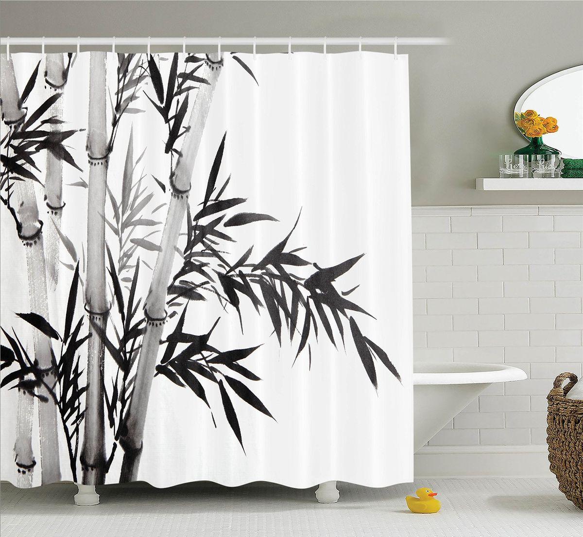 """Штора Magic Lady """"Стебли и листья бамбука"""", изготовленная из высококачественного сатена (полиэстер 100%), отлично дополнит любой интерьер ванной комнаты. При изготовлении используются специальные гипоаллергенные чернила для прямой печати по ткани, безопасные для человека.    В комплекте: 1 штора, 12 крючков. Обращаем ваше внимание, фактический цвет изделия может незначительно отличаться от представленного на фото."""