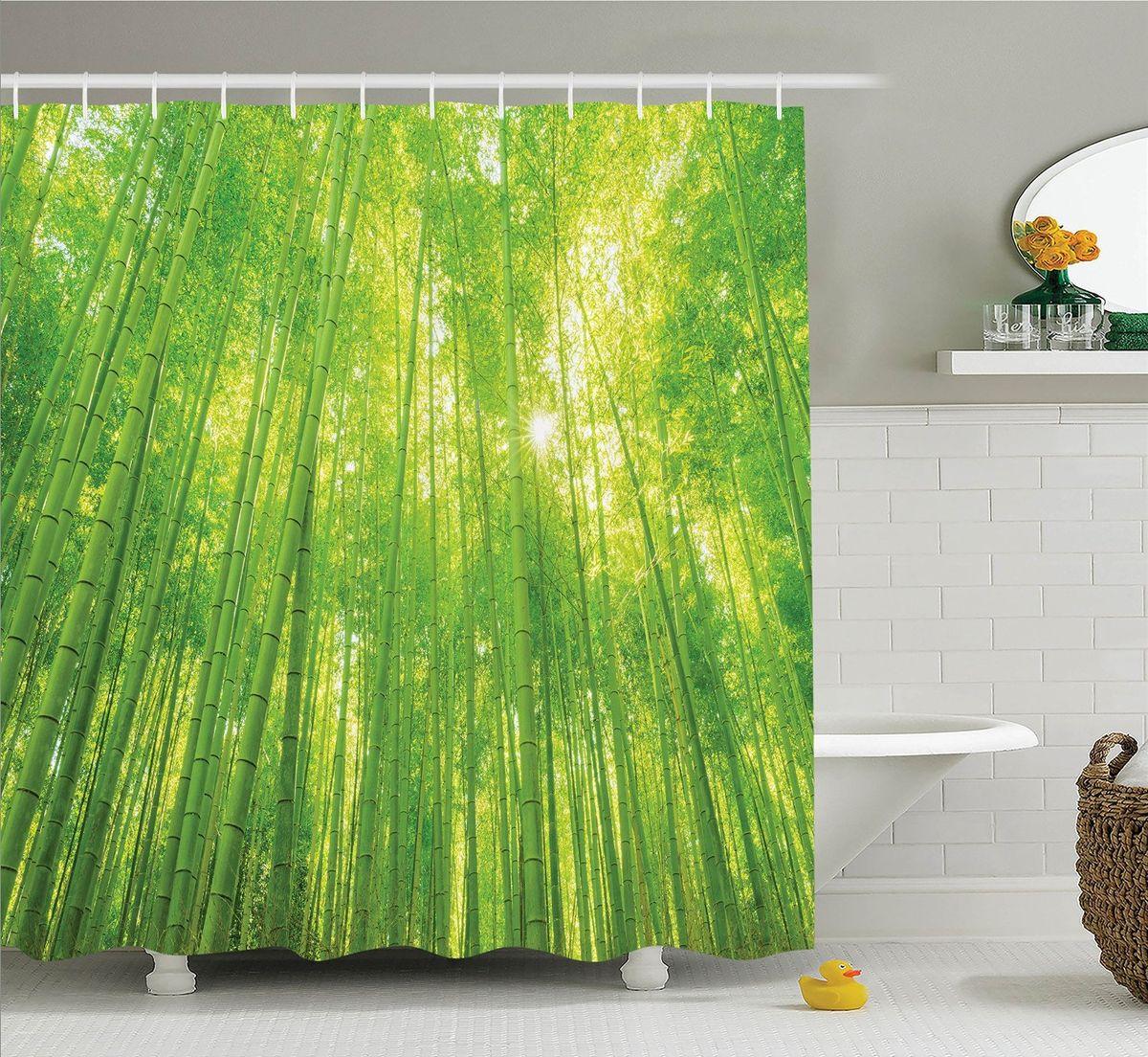 """Штора Magic Lady """"Бамбуковый лес"""", изготовленная из высококачественного сатена (полиэстер 100%), отлично дополнит любой интерьер ванной комнаты. При изготовлении используются специальные гипоаллергенные чернила для прямой печати по ткани, безопасные для человека.    В комплекте: 1 штора, 12 крючков. Обращаем ваше внимание, фактический цвет изделия может незначительно отличаться от представленного на фото."""