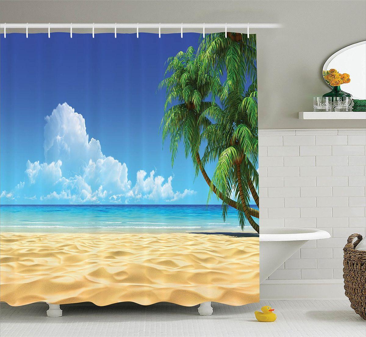 Штора для ванной комнаты Magic Lady Облака над пляжем, 180 х 200 смшв_13793Штора Magic Lady Облака над пляжем, изготовленная из высококачественного сатена (полиэстер 100%), отлично дополнит любой интерьер ванной комнаты. При изготовлении используются специальные гипоаллергенные чернила для прямой печати по ткани, безопасные для человека.В комплекте: 1 штора, 12 крючков. Обращаем ваше внимание, фактический цвет изделия может незначительно отличаться от представленного на фото.