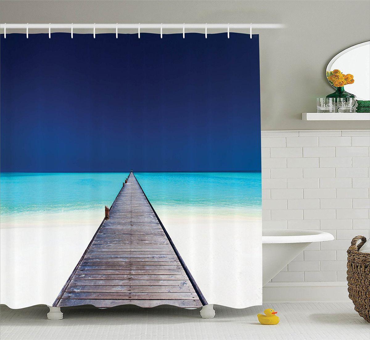 """Штора Magic Lady """"Между небом и морем"""", изготовленная из высококачественного сатена (полиэстер 100%), отлично дополнит любой интерьер ванной комнаты. При изготовлении используются специальные гипоаллергенные чернила для прямой печати по ткани, безопасные для человека.    В комплекте: 1 штора, 12 крючков. Обращаем ваше внимание, фактический цвет изделия может незначительно отличаться от представленного на фото."""