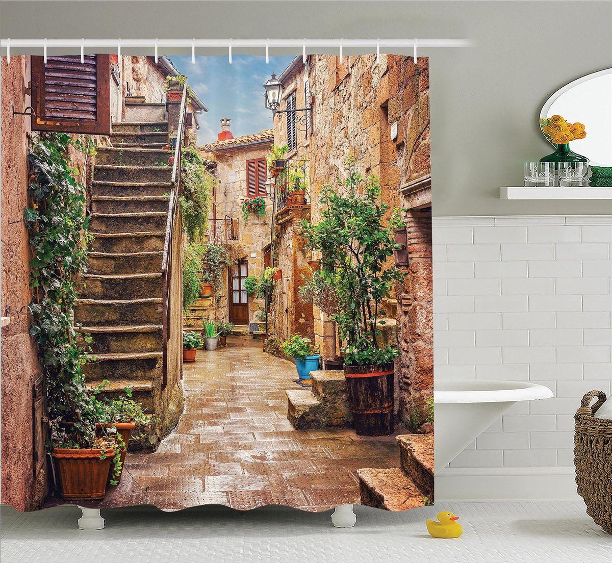 Штора для ванной комнаты Magic Lady Дом с каменной лестницей, 180 х 200 см цена
