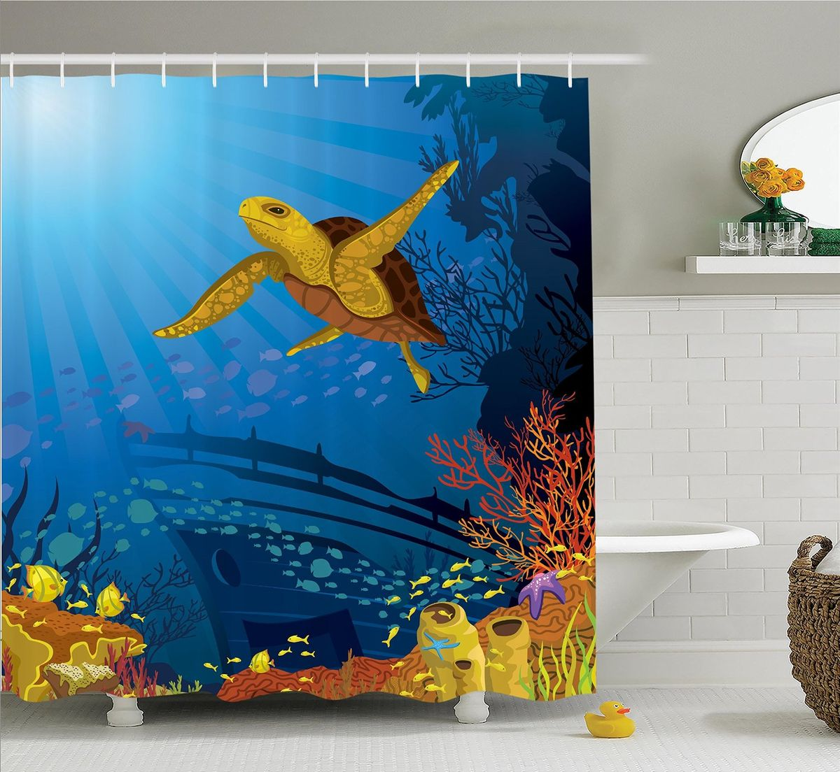 Штора для ванной комнаты Magic Lady Черепаха и обломки корабля, 180 х 200 см штора для ванной комнаты magic lady ателье  180 х 200 см