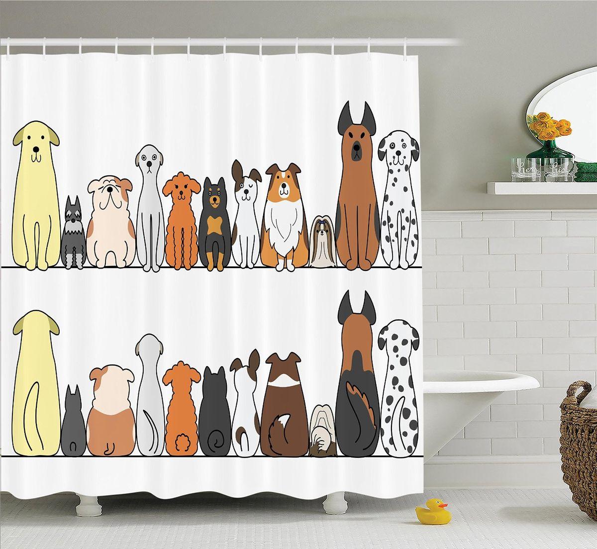 Штора для ванной комнаты Magic Lady Милые собаки, 180 х 200 смшв_14786Штора Magic Lady Милые собаки, изготовленная из высококачественного сатена (полиэстер 100%), отлично дополнит любой интерьер ванной комнаты. При изготовлении используются специальные гипоаллергенные чернила для прямой печати по ткани, безопасные для человека.В комплекте: 1 штора, 12 крючков. Обращаем ваше внимание, фактический цвет изделия может незначительно отличаться от представленного на фото.