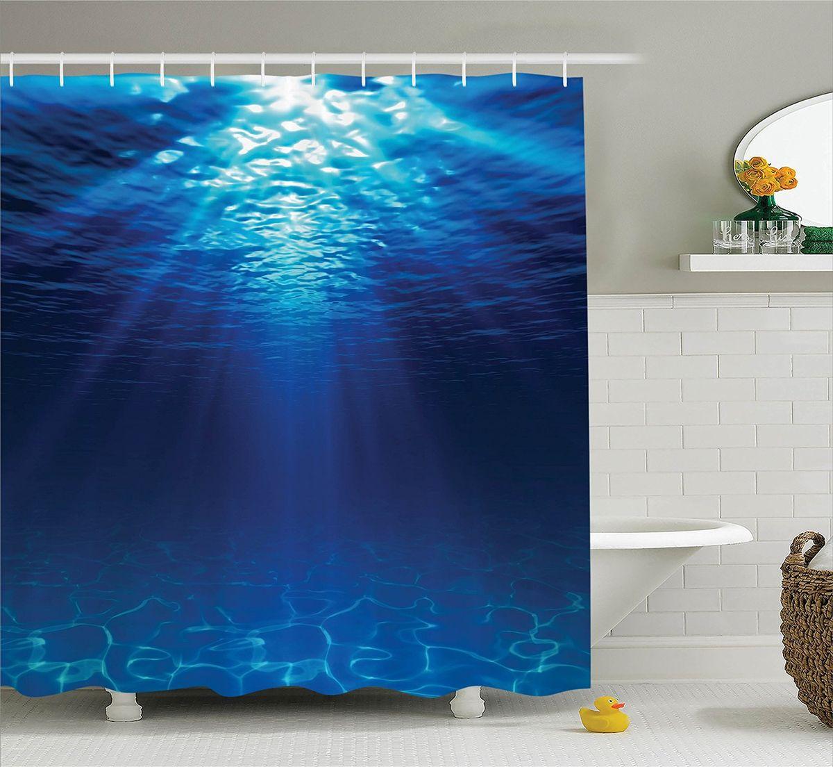 """Штора Magic Lady """"Синее море"""", изготовленная из высококачественного сатена (полиэстер 100%), отлично дополнит любой интерьер ванной комнаты. При изготовлении используются специальные гипоаллергенные чернила для прямой печати по ткани, безопасные для человека.    В комплекте: 1 штора, 12 крючков. Обращаем ваше внимание, фактический цвет изделия может незначительно отличаться от представленного на фото."""