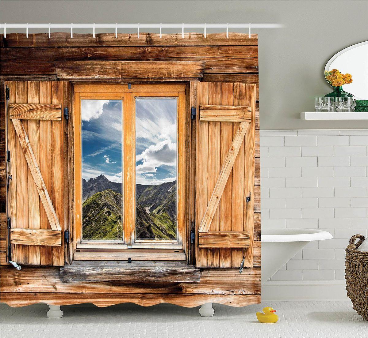 Штора для ванной комнаты Magic Lady Старое окошко, 180 х 200 см штора для ванной комнаты magic lady планеты  180 х 200 см