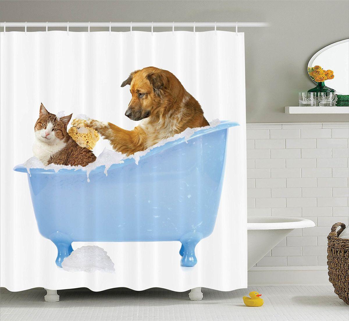 """Штора Magic Lady """"Кот и пес"""", изготовленная из высококачественного сатена (полиэстер 100%), отлично дополнит любой интерьер ванной комнаты. При изготовлении используются специальные гипоаллергенные чернила для прямой печати по ткани, безопасные для человека.    В комплекте: 1 штора, 12 крючков. Обращаем ваше внимание, фактический цвет изделия может незначительно отличаться от представленного на фото."""