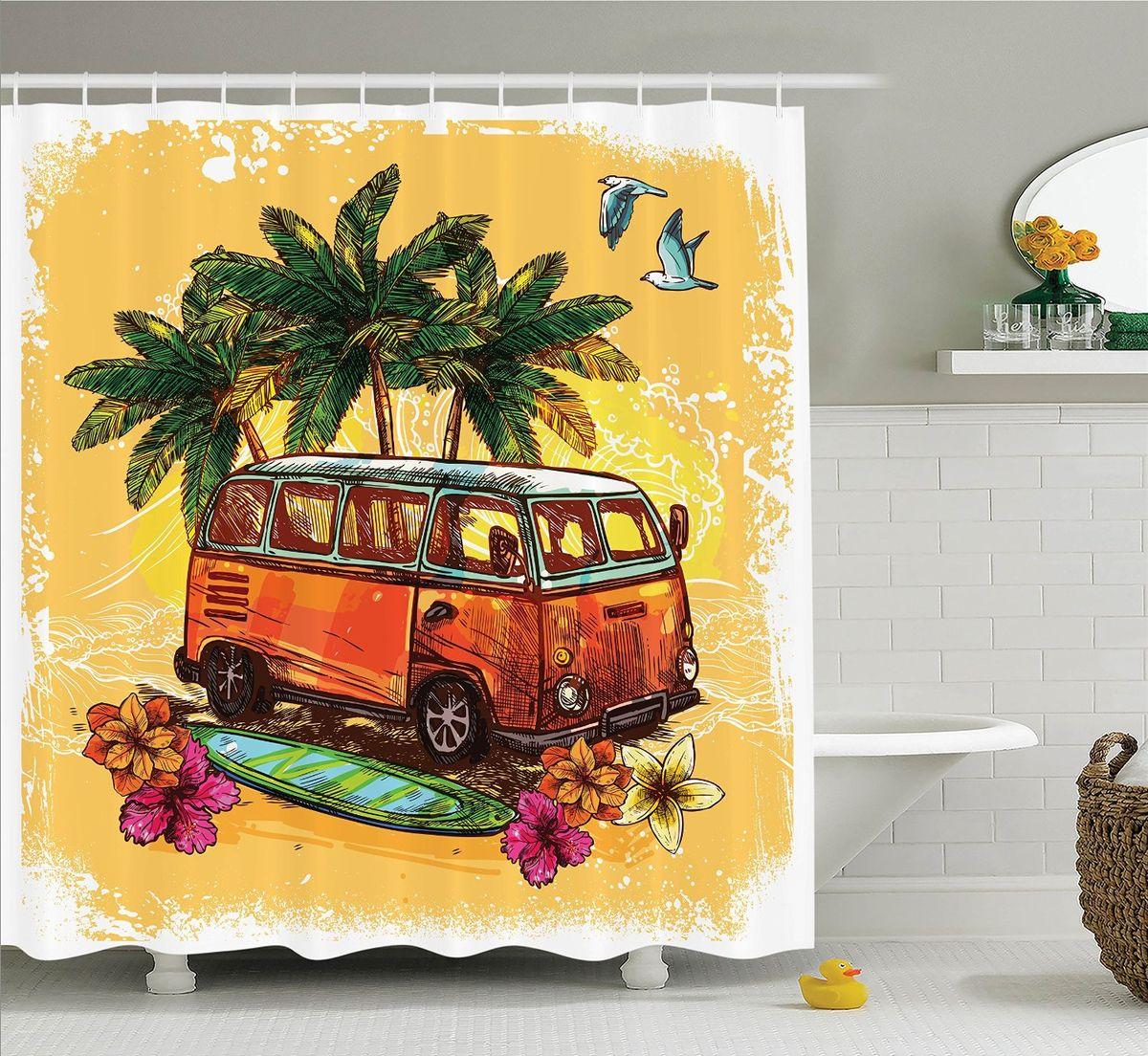 """Штора Magic Lady """"Оранжевый автобус"""", изготовленная из высококачественного сатена (полиэстер 100%), отлично дополнит любой интерьер ванной комнаты. При изготовлении используются специальные гипоаллергенные чернила для прямой печати по ткани, безопасные для человека.    В комплекте: 1 штора, 12 крючков. Обращаем ваше внимание, фактический цвет изделия может незначительно отличаться от представленного на фото."""