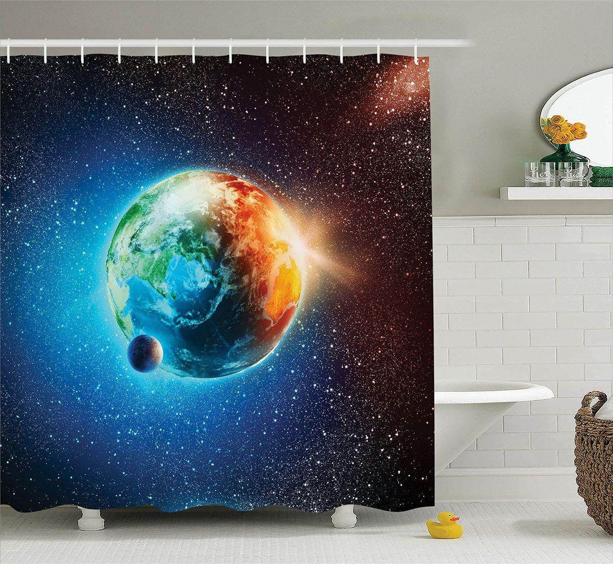 Штора для ванной комнаты Magic Lady Живая планета, 180 х 200 смшв_15664Штора Magic Lady Живая планета, изготовленная из высококачественного сатена (полиэстер 100%), отлично дополнит любой интерьер ванной комнаты. При изготовлении используются специальные гипоаллергенные чернила для прямой печати по ткани, безопасные для человека.В комплекте: 1 штора, 12 крючков. Обращаем ваше внимание, фактический цвет изделия может незначительно отличаться от представленного на фото.