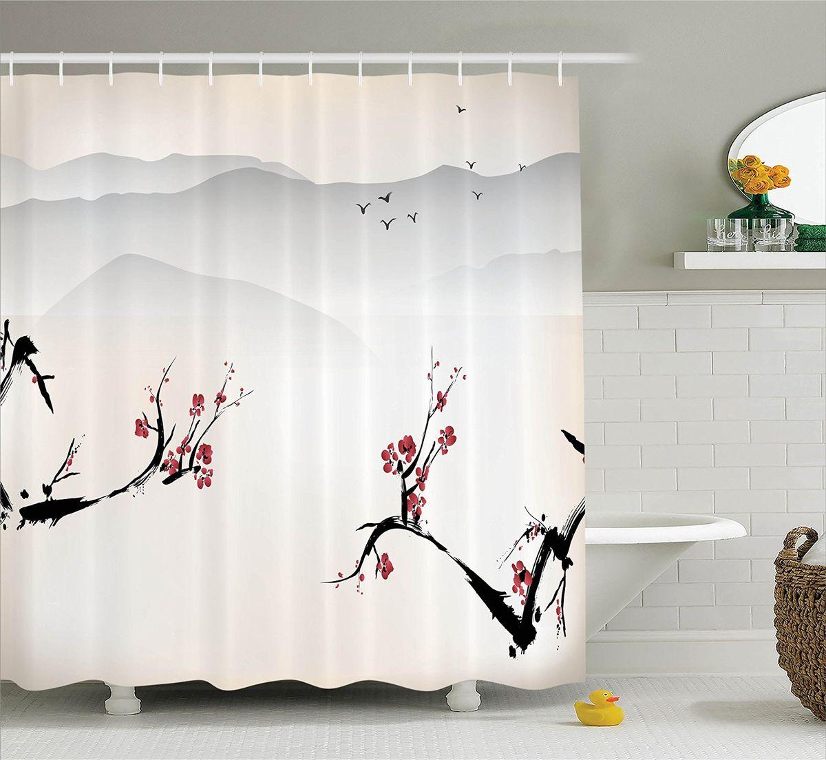 Штора для ванной комнаты Magic Lady Сакура на фоне гор, 180 х 200 см цена