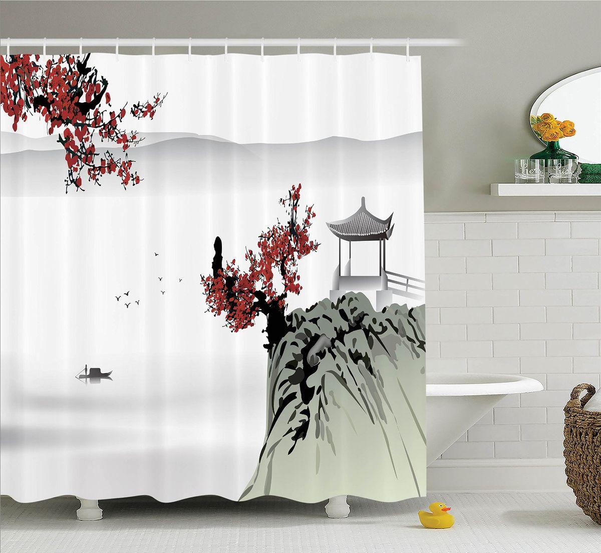Штора для ванной комнаты Magic Lady Сакура и беседка на горе, 180 х 200 см фотоштора для ванной утка принимает душ magic lady 180 х 200 см