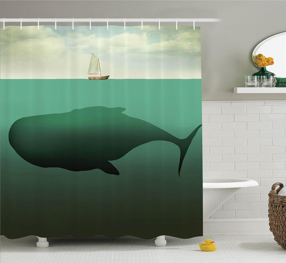 """Штора Magic Lady """"Гигантский кит"""", изготовленная из высококачественного сатена (полиэстер 100%), отлично дополнит любой интерьер ванной комнаты. При изготовлении используются специальные гипоаллергенные чернила для прямой печати по ткани, безопасные для человека.    В комплекте: 1 штора, 12 крючков. Обращаем ваше внимание, фактический цвет изделия может незначительно отличаться от представленного на фото."""