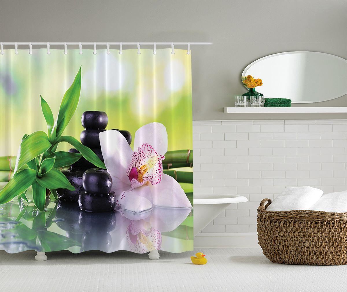 """Штора Magic Lady """"Спокойствие"""", изготовленная из высококачественного сатена (полиэстер 100%), отлично дополнит любой интерьер ванной комнаты. При изготовлении используются специальные гипоаллергенные чернила для прямой печати по ткани, безопасные для человека.    В комплекте: 1 штора, 12 крючков. Обращаем ваше внимание, фактический цвет изделия может незначительно отличаться от представленного на фото."""