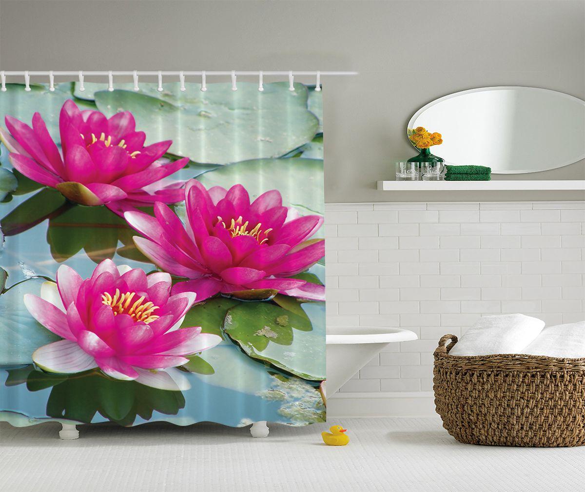 Штора для ванной комнаты Magic Lady Розовые кувшинки, 180 х 200 смшв_2607Штора для ванной комнаты Magic Lady  Розовые кувшинки выполнена из высококачественного сатена (полиэстер 100%). При изготовлении используются специальные гипоаллергенные чернила. Оригинальный дизайн и цветовая гамма привлекут к себе внимание. Изделие хорошо пропускает свет и быстро высыхает. Такая штора прекрасно впишется в любой интерьер ванной комнаты и идеально защитит от брызг.