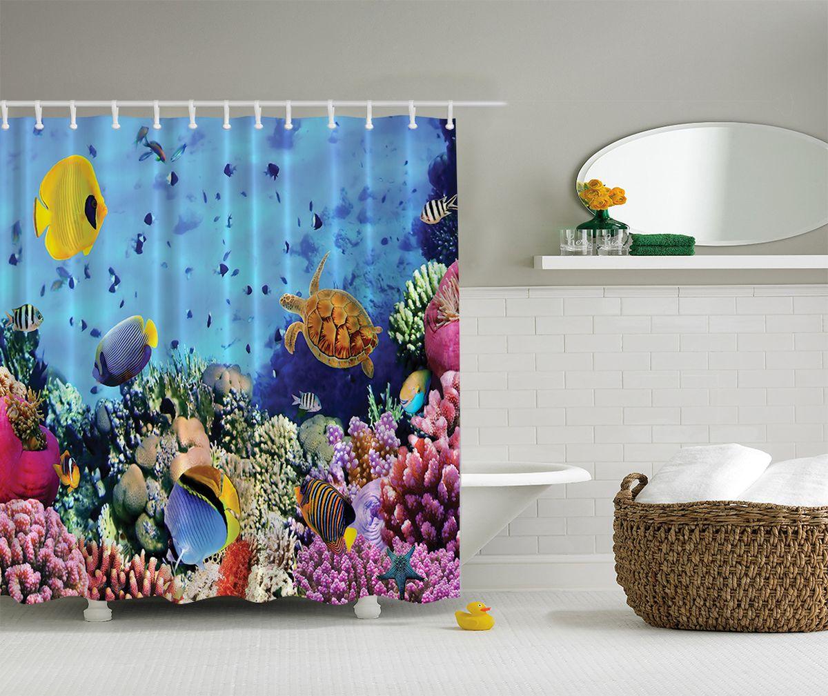 """Штора Magic Lady """"Подводный мир"""", изготовленная из высококачественного сатена (полиэстер 100%), отлично дополнит любой интерьер ванной комнаты. При изготовлении используются специальные гипоаллергенные чернила для прямой печати по ткани, безопасные для человека.    В комплекте: 1 штора, 12 крючков. Обращаем ваше внимание, фактический цвет изделия может незначительно отличаться от представленного на фото."""
