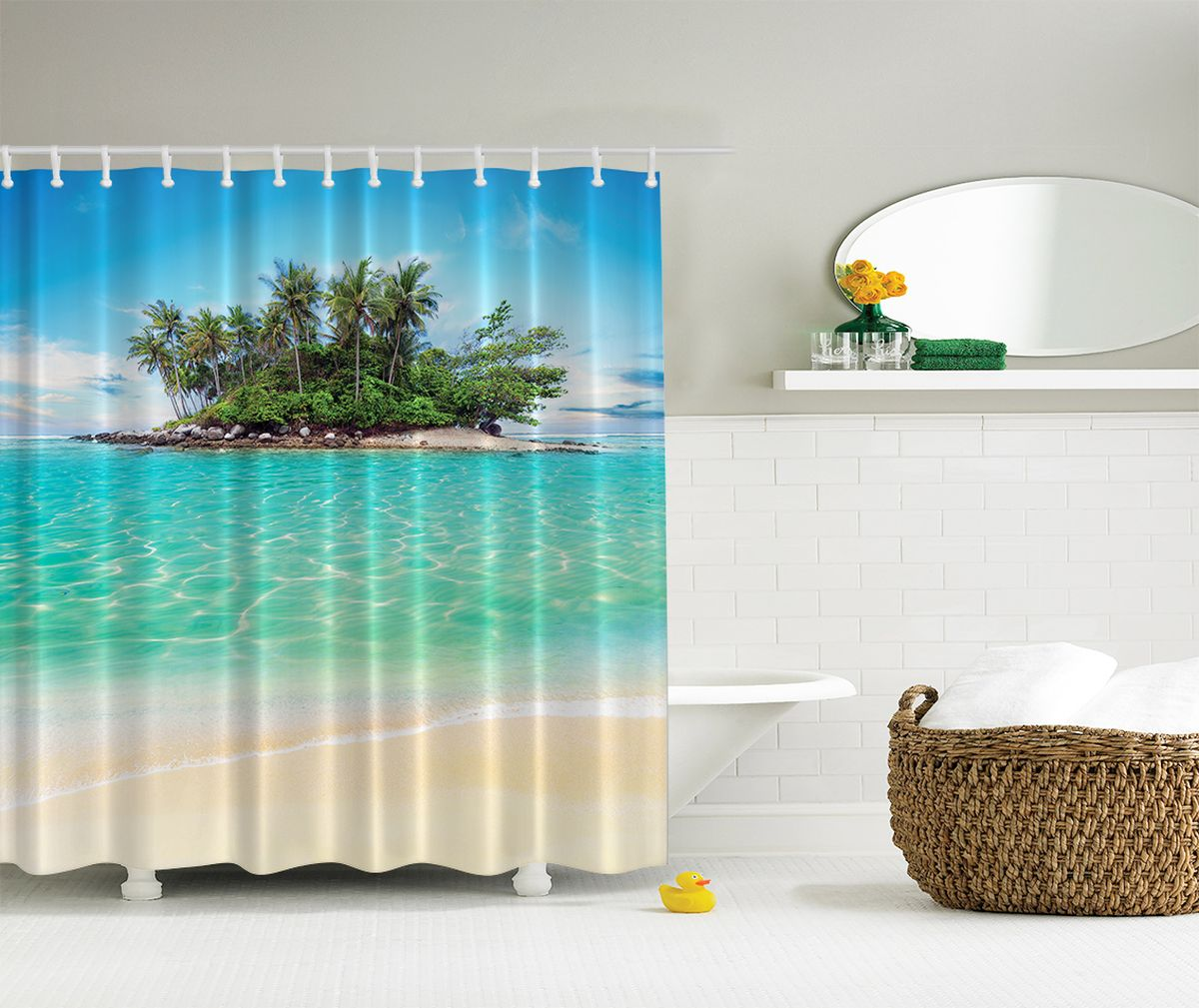 """Штора Magic Lady """"Горячий песок"""", изготовленная из высококачественного сатена (полиэстер 100%), отлично дополнит любой интерьер ванной комнаты. При изготовлении используются специальные гипоаллергенные чернила для прямой печати по ткани, безопасные для человека.    В комплекте: 1 штора, 12 крючков. Обращаем ваше внимание, фактический цвет изделия может незначительно отличаться от представленного на фото."""