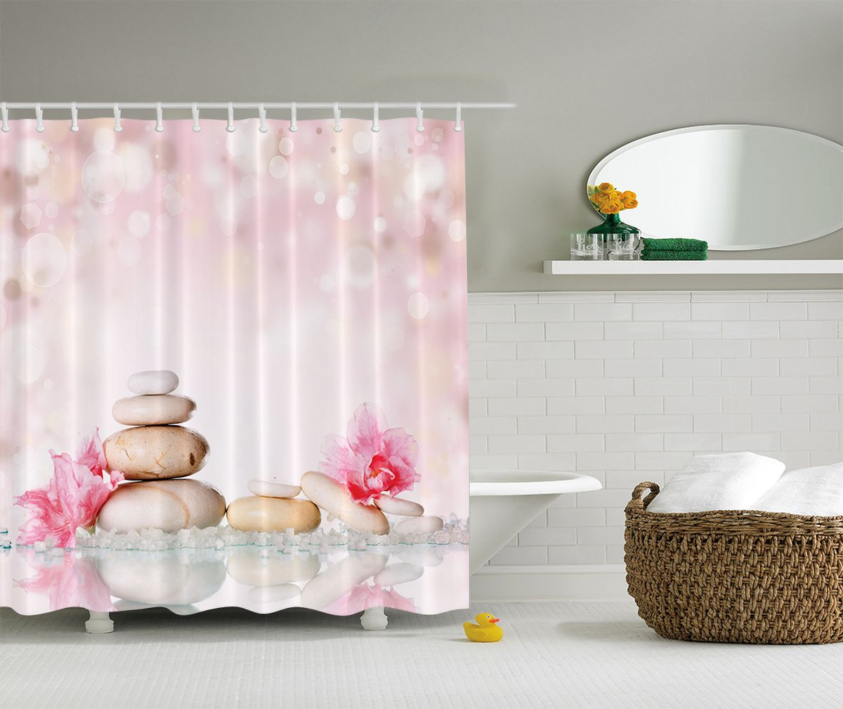 Штора для ванной комнаты Magic Lady Композиция, 180 х 200 смшв_2617Штора для ванной комнаты Magic Lady Композиция выполнена из высококачественного сатена (полиэстер 100%). При изготовлении используются специальные гипоаллергенные чернила. Оригинальный дизайн и цветовая гамма привлекут к себе внимание. Изделие хорошо пропускает свет и быстро высыхает. Такая штора прекрасно впишется в любой интерьер ванной комнаты и идеально защитит от брызг.