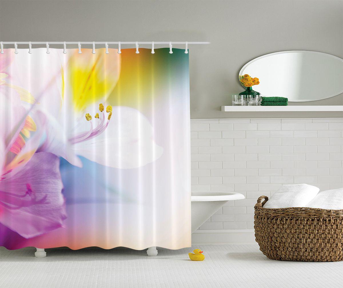 """Штора Magic Lady """"PКадр лилии"""", изготовленная из высококачественного сатена (полиэстер 100%), отлично дополнит любой интерьер ванной комнаты. При изготовлении используются специальные гипоаллергенные чернила для прямой печати по ткани, безопасные для человека.    В комплекте: 1 штора, 12 крючков. Обращаем ваше внимание, фактический цвет изделия может незначительно отличаться от представленного на фото."""