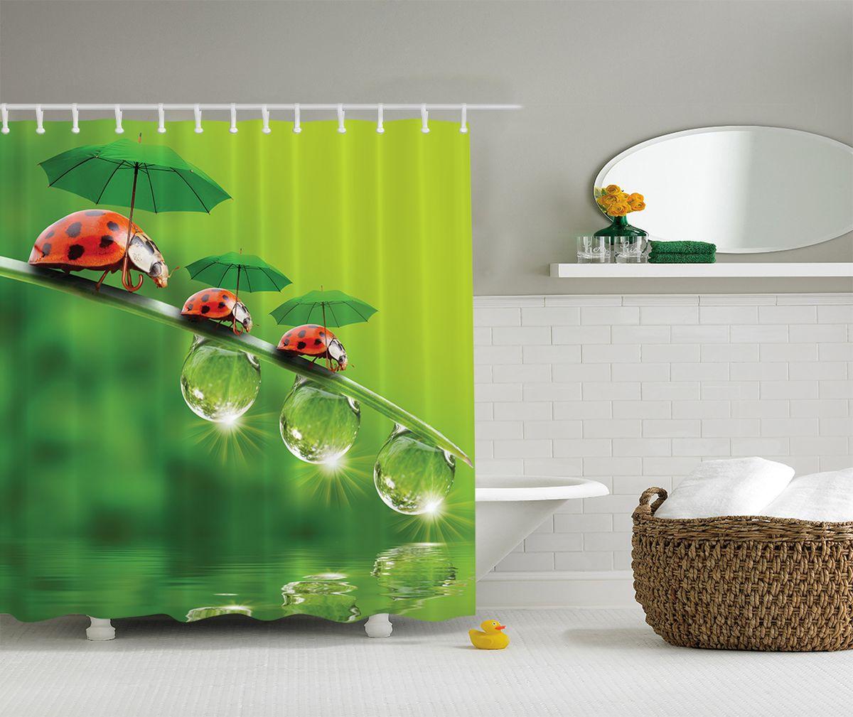 Штора для ванной комнаты Magic Lady Семья и зонты, 180 х 200 см фотоштора для ванной утка принимает душ magic lady 180 х 200 см