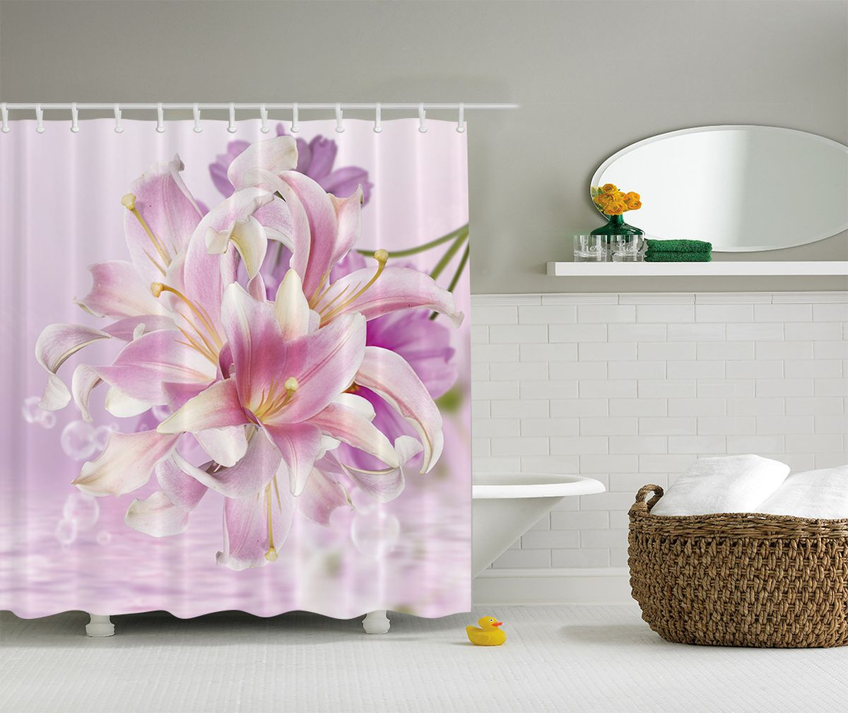 Штора для ванной комнаты Magic Lady Душистый, 180 х 200 см штора для ванной комнаты magic lady абрикос на закате весна 180 х 200 см