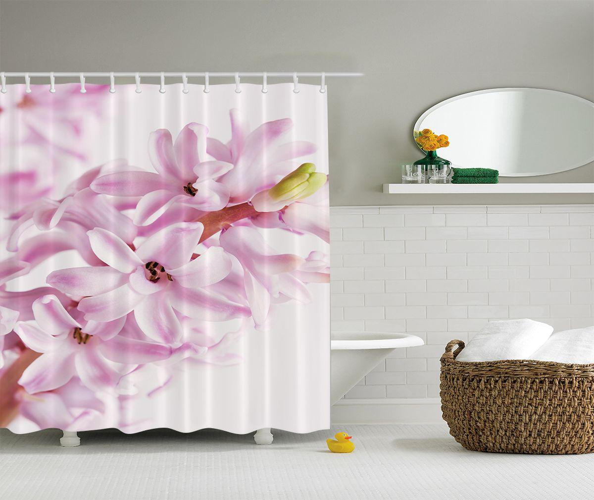 """Штора Magic Lady """"Гиацинт"""", изготовленная из высококачественного сатена (полиэстер 100%), отлично дополнит любой интерьер ванной комнаты. При изготовлении используются специальные гипоаллергенные чернила для прямой печати по ткани, безопасные для человека.     В комплекте: 1 штора, 12 крючков.    Обращаем ваше внимание, фактический цвет изделия может незначительно отличаться от представленного на фото."""