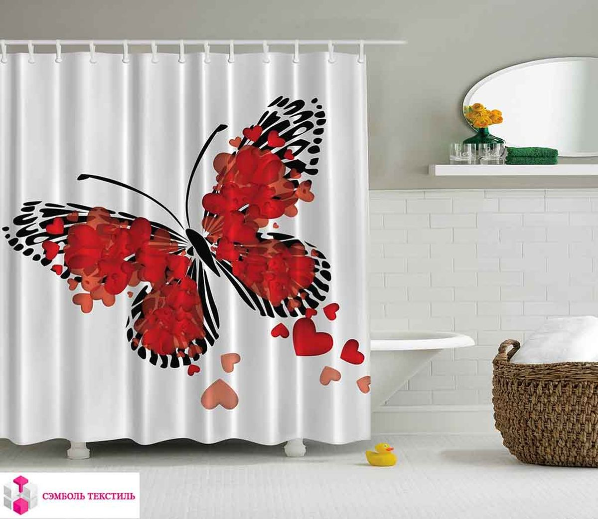 Штора для ванной комнаты Magic Lady Влюбленная бабочка, 180 х 200 смшв_2710Штора Magic Lady Влюбленная бабочка, изготовленная из высококачественного сатена (полиэстер 100%), отлично дополнит любой интерьер ванной комнаты. При изготовлении используются специальные гипоаллергенные чернила для прямой печати по ткани, безопасные для человека.В комплекте: 1 штора, 12 крючков. Обращаем ваше внимание, фактический цвет изделия может незначительно отличаться от представленного на фото.