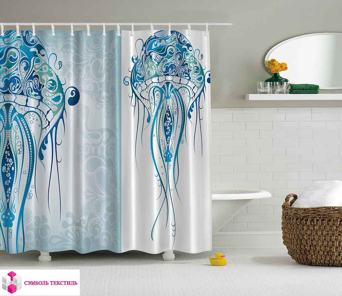 Штора для ванной комнаты Magic Lady Огромная медуза с узорами, 180 х 200 см калиновъ лимонадъ винтажный лимонад классический 0 5 л
