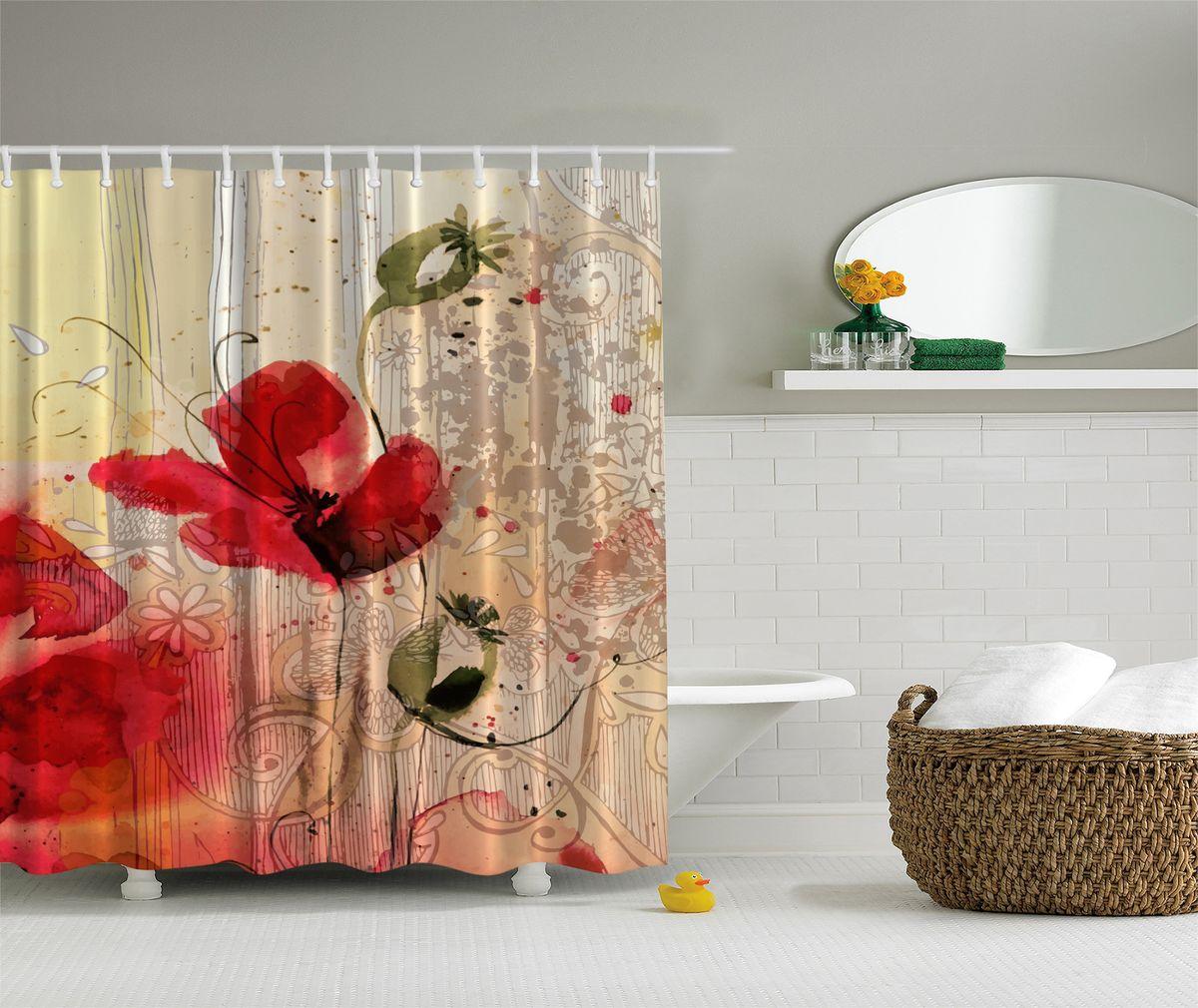 Штора для ванной комнаты Magic Lady Акварельные маки, 180 х 200 см