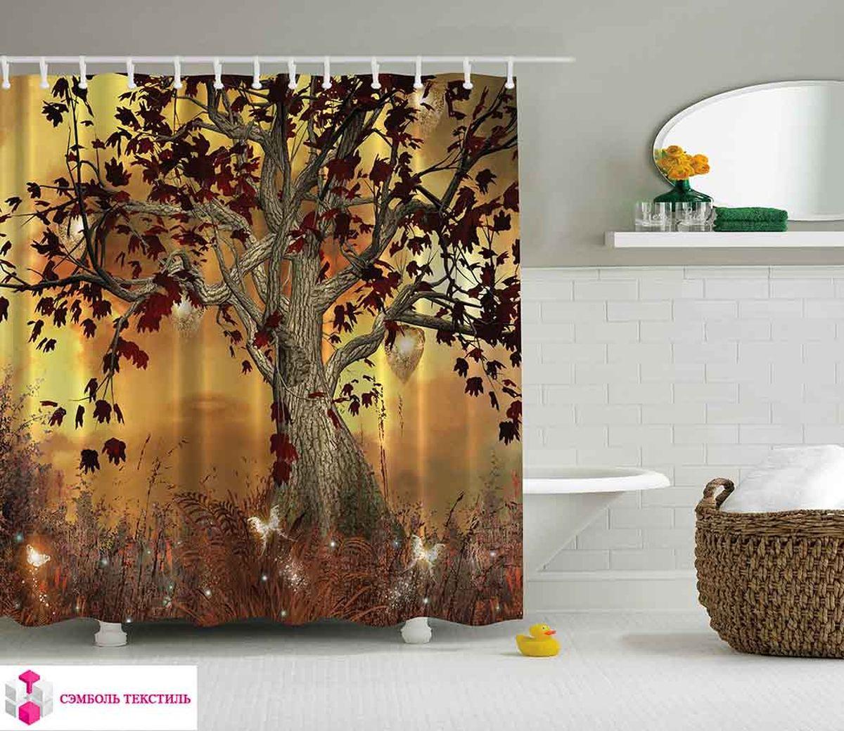 Штора для ванной комнаты Magic Lady Дерево в волшебном лесу, цвет: коричневый, оранжевый, 180 х 200 см цена