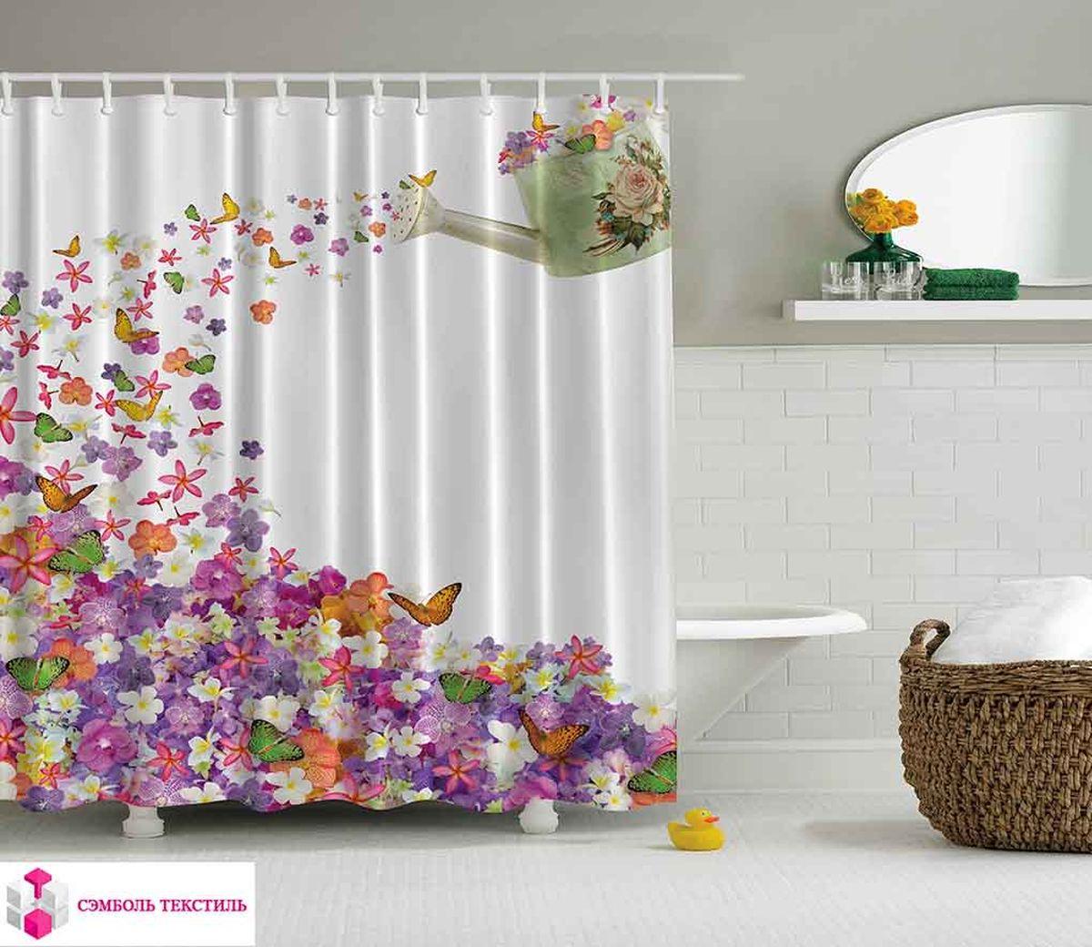 Штора для ванной комнаты Magic Lady Цветочный рай, 180 х 200 см