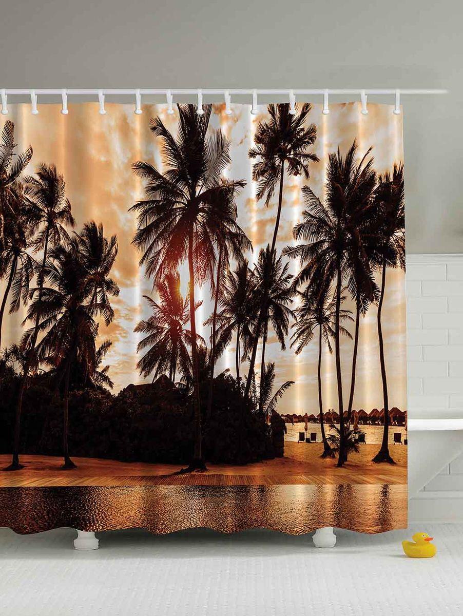 """Штора Magic Lady """"Пальмы на закате"""", изготовленная из высококачественного сатена (полиэстер 100%), отлично дополнит любой интерьер ванной комнаты. При изготовлении используются специальные гипоаллергенные чернила для прямой печати по ткани, безопасные для человека.    В комплекте: 1 штора, 12 крючков. Обращаем ваше внимание, фактический цвет изделия может незначительно отличаться от представленного на фото."""