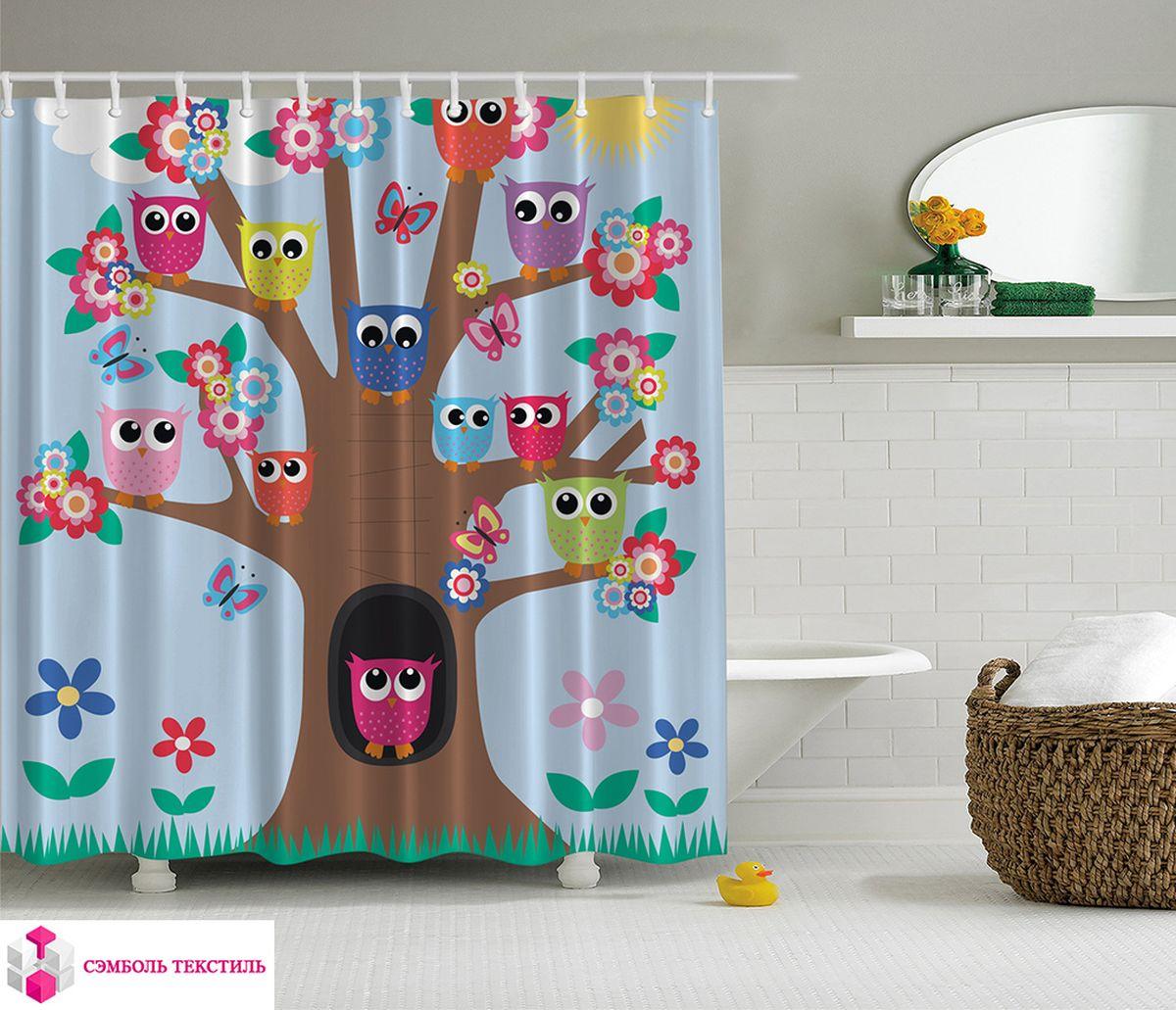 Штора для ванной комнаты Magic Lady Дружная семья сов на дереве, 180 х 200 см фотоштора для ванной утка принимает душ magic lady 180 х 200 см